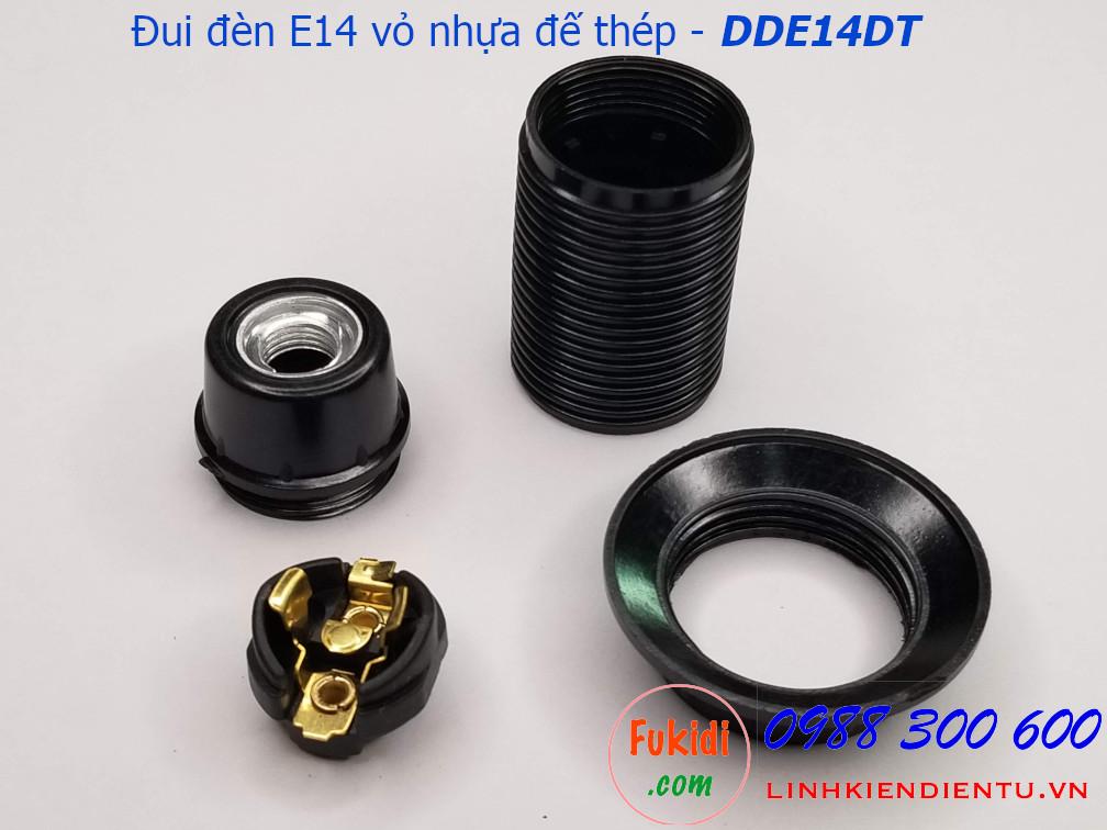 Đui đèn E14 vỏ nhựa đen đế kim loại - DDE14DT