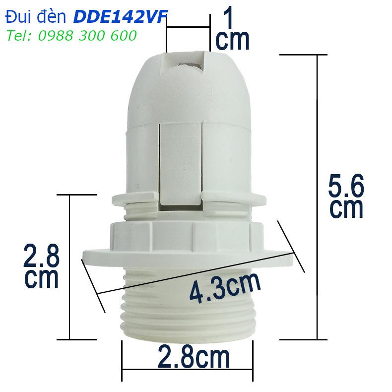 Đui đèn E14 nhựa đen có khoen gắn chóa đèn - DDE142VFD