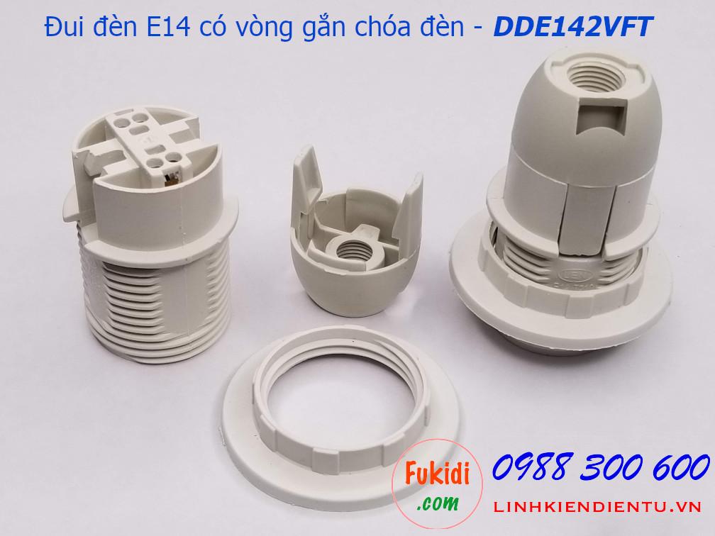 Đui đèn E14 nhựa trắng có khoen gắn chóa đèn - DDE142VFT