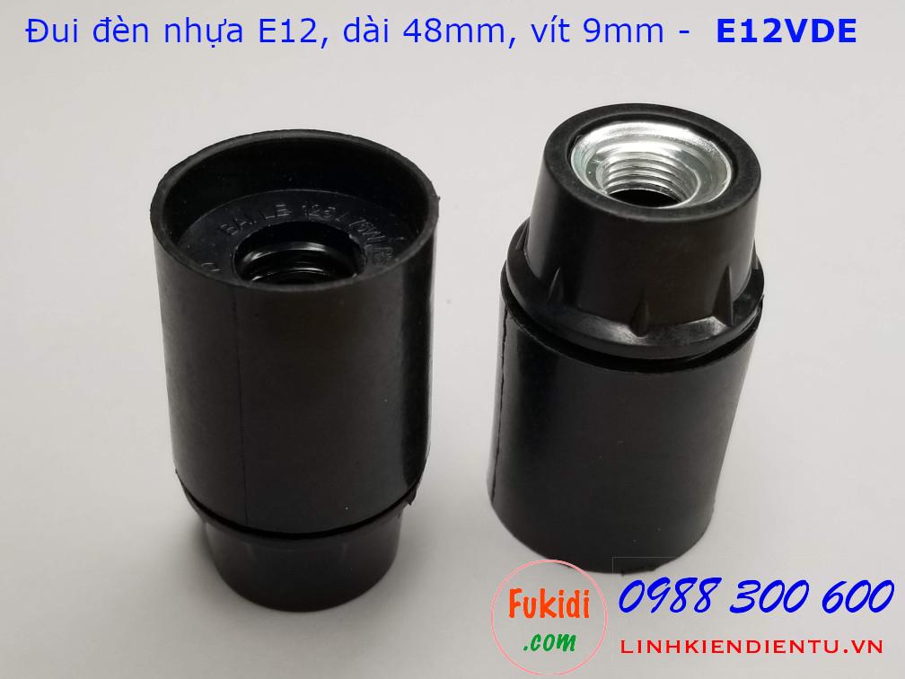 Đui đèn E12 vỏ nhựa màu đen đế kim loại 9mm - E12VDE
