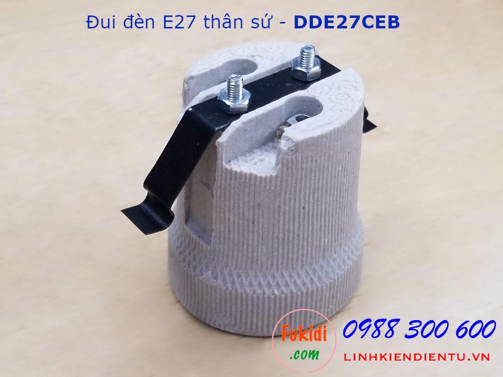 Đui đèn E27 vỏ sứ kèm móc treo - DDE27CEB
