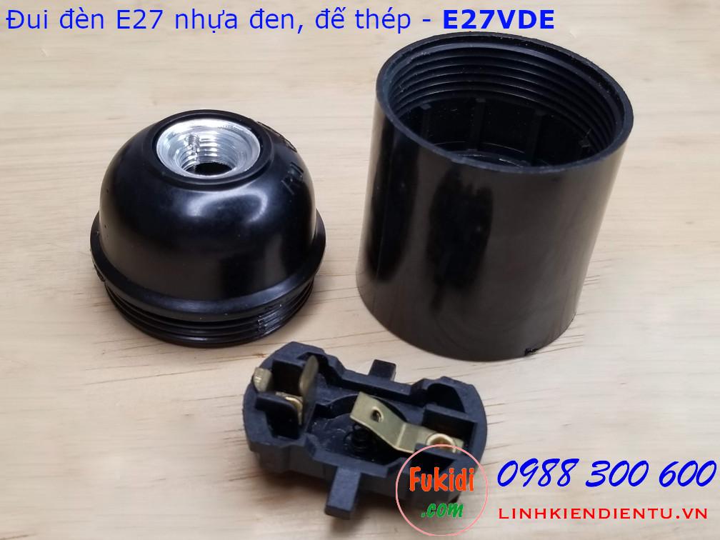 Đui đèn E27 vỏ nhựa màu đen đế kim loại - E27VDE