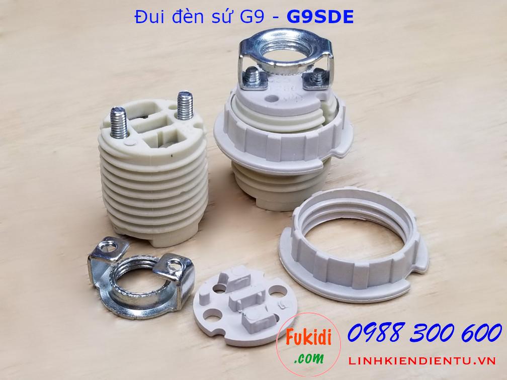 Đui đèn G9 chất liệu sứ màu trắng, đầu vit 9mm dài 35mm - G9SDE