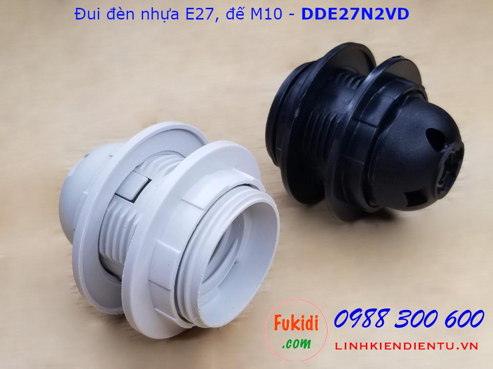 Đui đèn nhựa E27 hai vòng gắn chóa đế M10 màu đen - DDE27N2VD