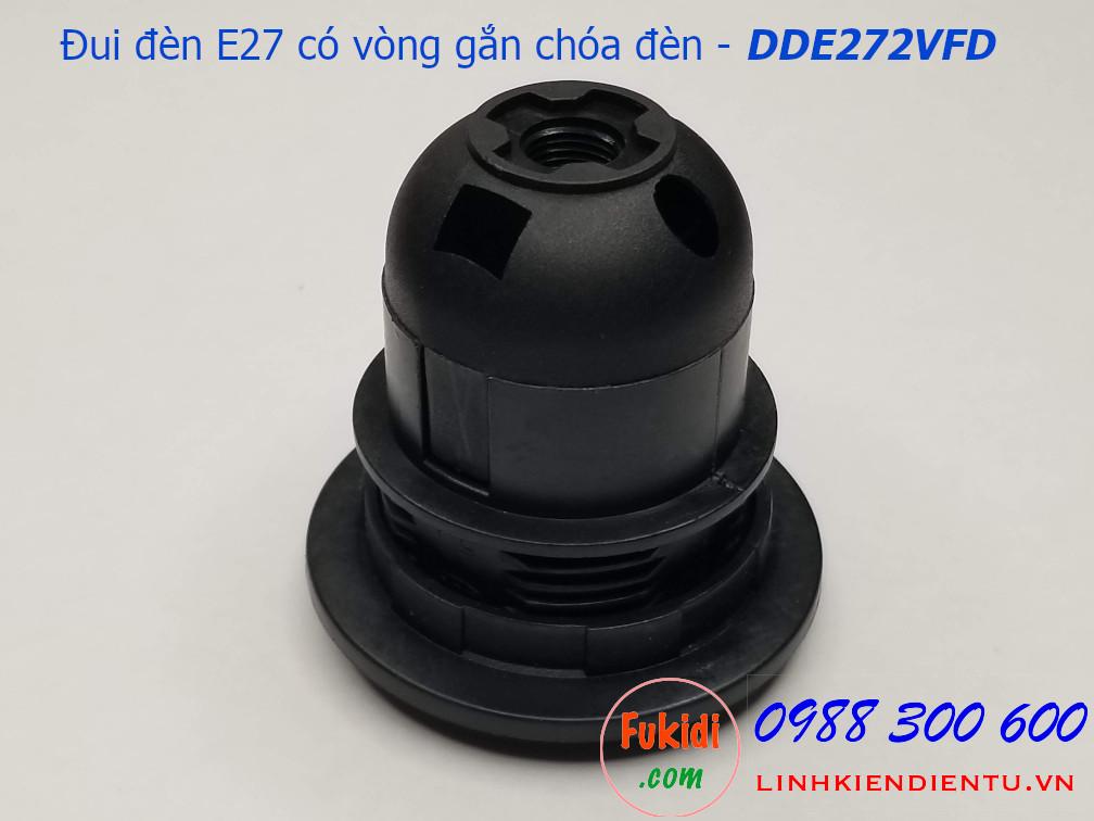 Đui đèn E27 nhựa đen có hai vòng gắn chóa đèn - DDE272VFD