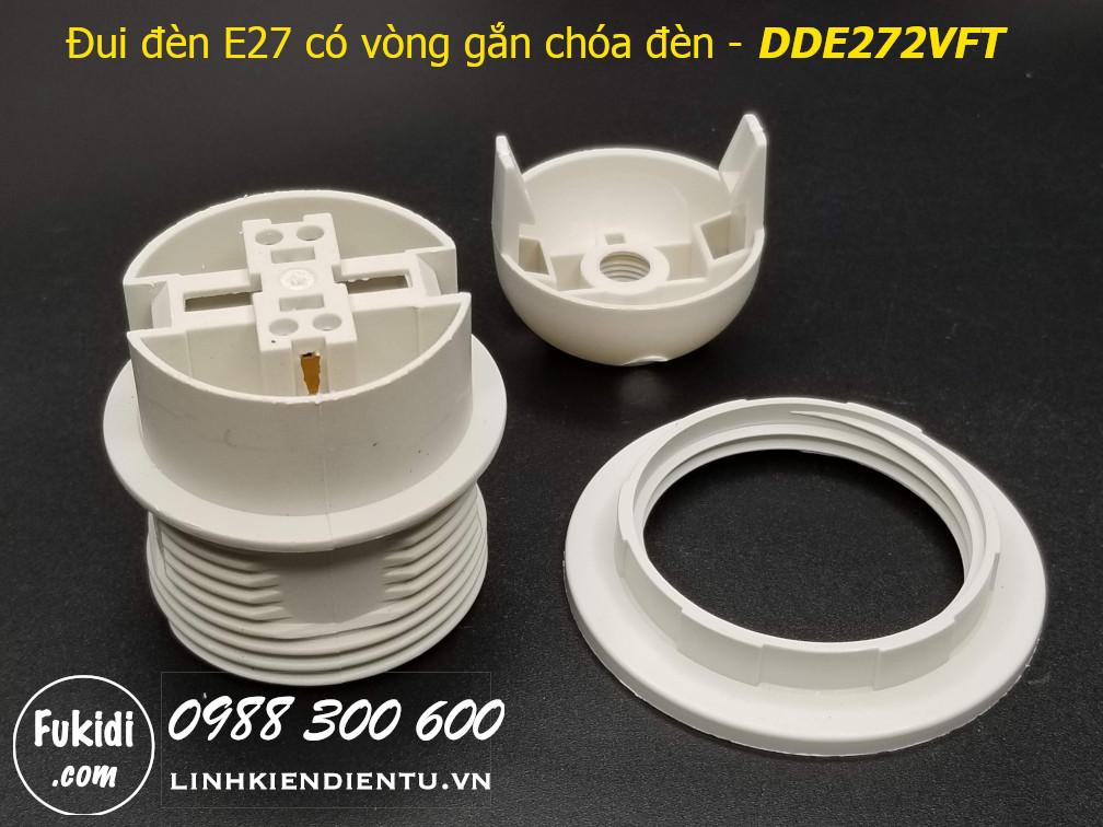 Đui đèn E27 nhựa trắng có hai vòng gắn chóa đèn - DDE272VFT