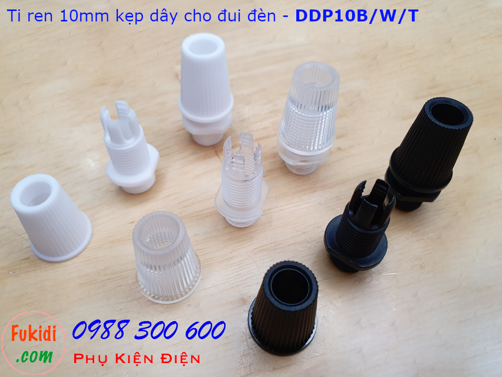 Ti ren nhựa 10mm dùng kẹp dây điện cho đui đèn E12, E14, E26, E27 màu đen - DDP10B