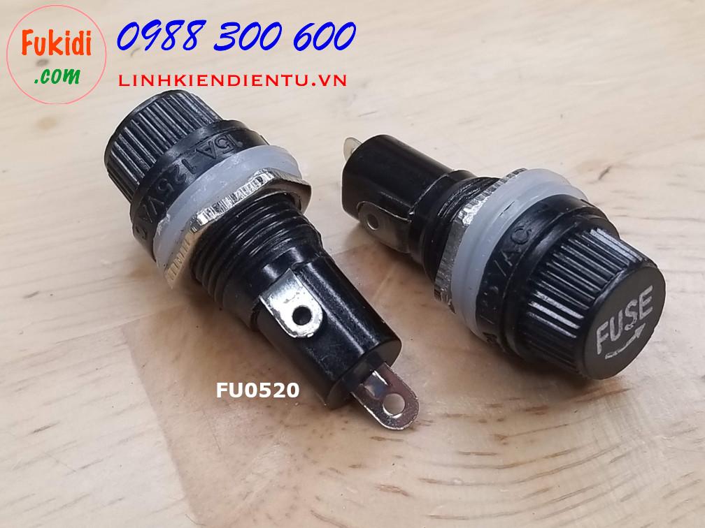Hộp chứa cầu chì, đế cầu chì 5x20mm, công suất tối đa 15A 250V FU0520