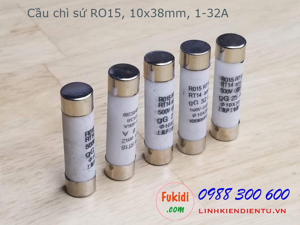 Cầu chì sứ 32A/250VAC loại RO15 kích thước 10x38mm