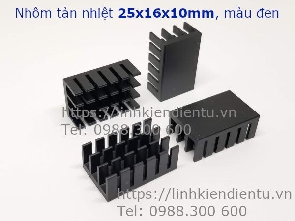 Nhôm tản nhiệt kích thước 25x16x10mm, màu đen