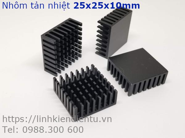 Nhôm tản nhiệt kích thước 25x25x10mm, màu đen