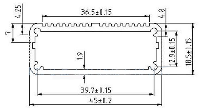 Kích thước chi tiết của hộp nhôm 45x45x18.5mm