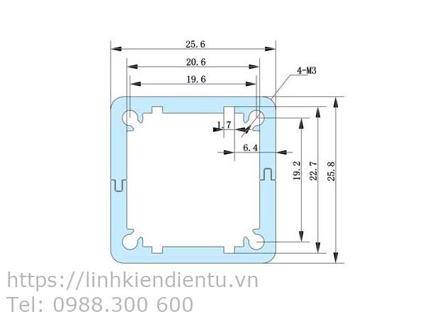 Hộp nhôm 25x25x80mm chứa mạch điện 22.7x90mm - kích thước