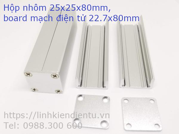 Hộp nhôm 25x25x80mm chứa mạch điện 22.7x90mm