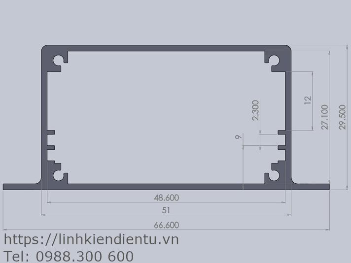 Hộp nhôm 67x30x90mm chứa mạch điện 48.6x90mm - kích thước chi tiết