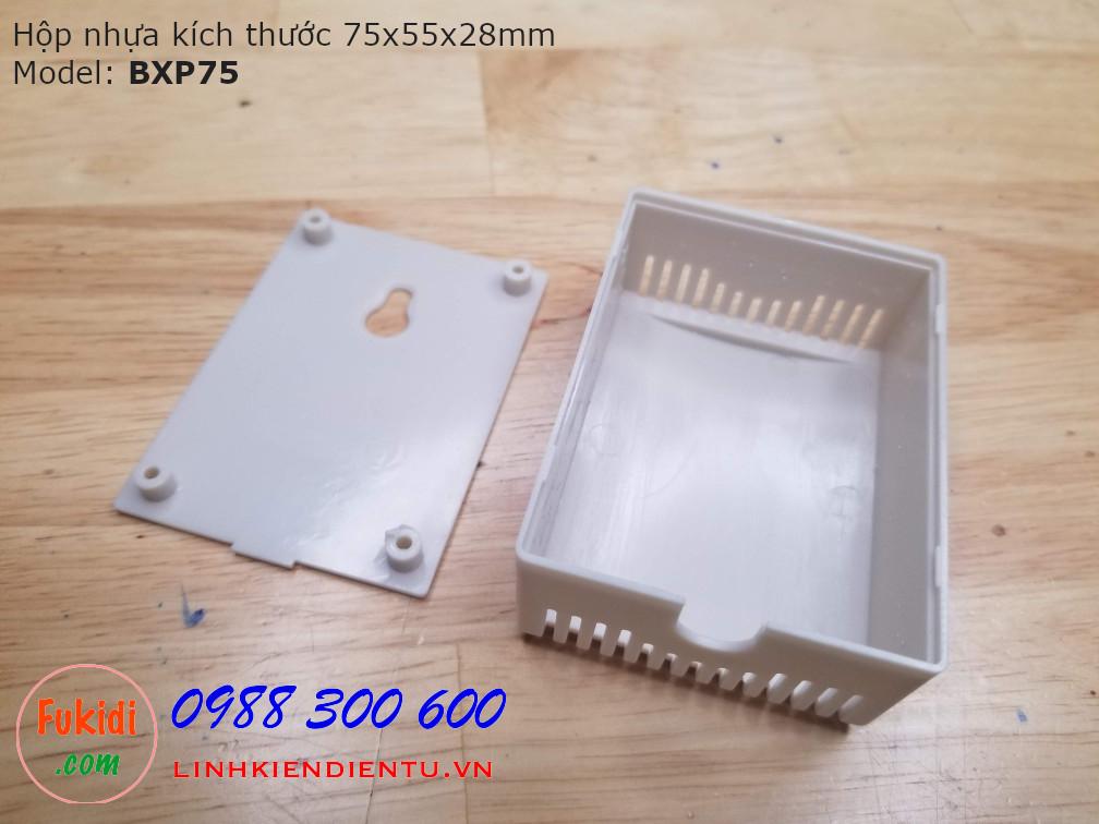 Hộp nhựa kích thước 75x55x28mm phù hợp với các sản phẩm điện tử công suất BXP75