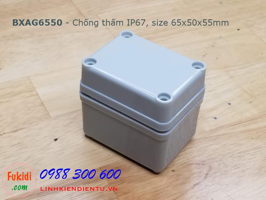 BXAG6550 Hộp nhựa AG dùng làm hộp đầu nối dây, size 65x50x55mm, chống thấm nước IP67