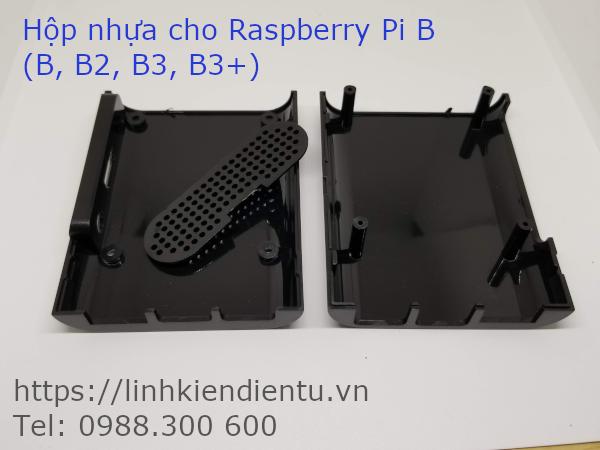 Hộp nhựa màu đen chuyên dụng cho Raspberry Pi B (B2, B3, B3+) - mở vỏ ra