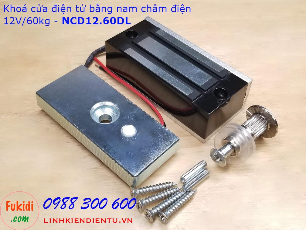 Khóa cửa bằng nam châm điện 12V lực hút 60kg size 80x38mm - NCD12.60DL