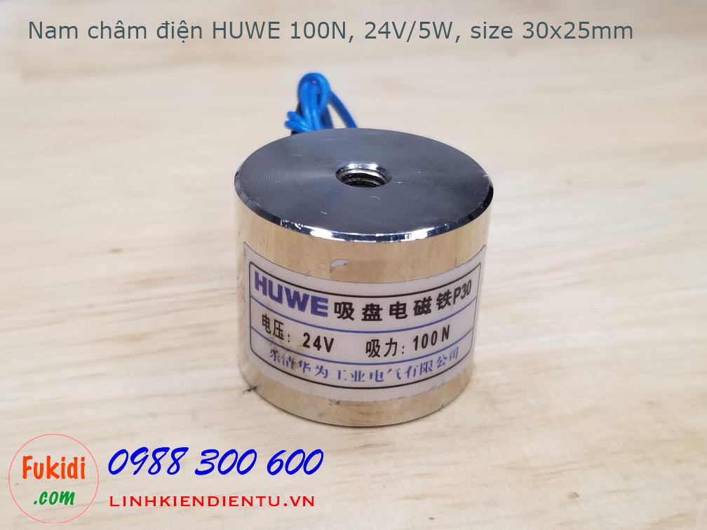 Nam châm điện HUWE 100N 24V 5W phi 30mm dài 25mm