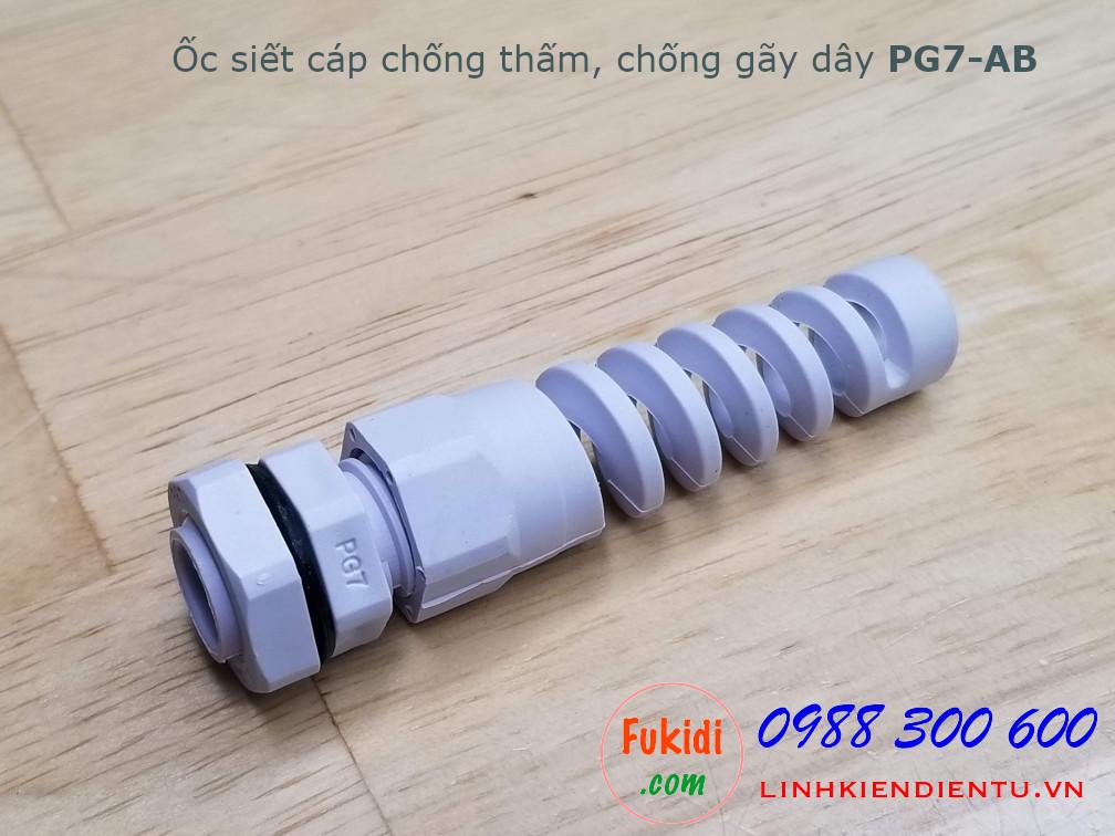 Ốc siết cáp chống thấm, chống gãy dây PG7-AB màu trắng