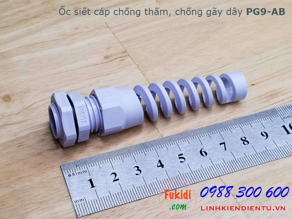 Ốc siết cáp chống thấm, chống gãy dây PG9-AB màu trắng