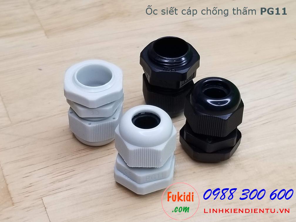 Ốc siết cáp bằng nhựa chống thấm PG11, màu trắng 19mm, cáp 5-10mm
