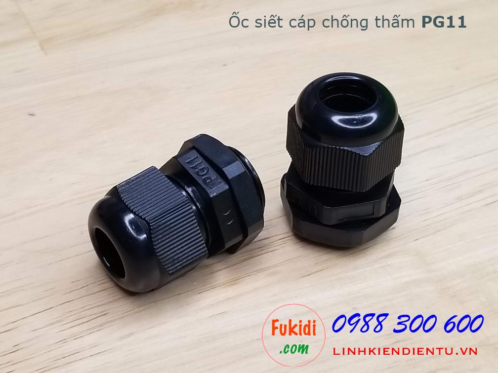 Ốc siết cáp bằng nhựa chống thấm PG11, màu đen 19mm, cáp 5-10mm