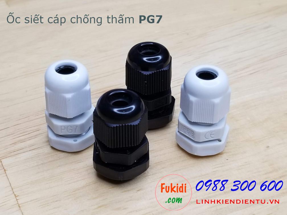 Ốc siết cáp bằng nhựa chống thấm PG7 màu đen, dùng cho dây điện có phi 3-6mm