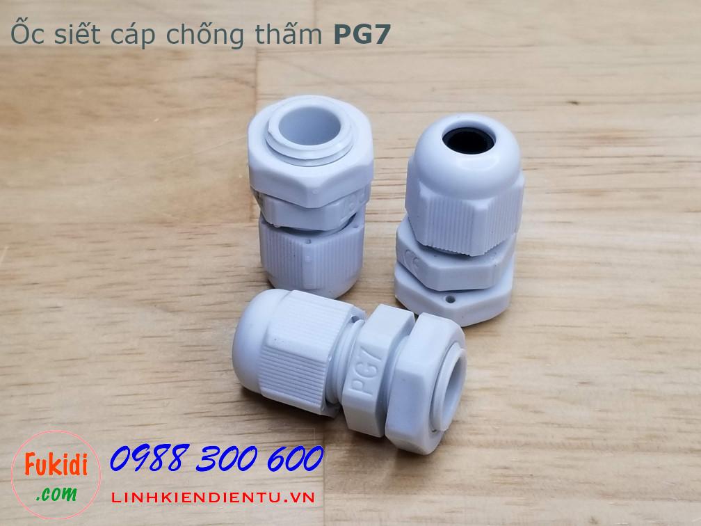 Ốc siết cáp bằng nhựa chống thấm PG7 màu trắng