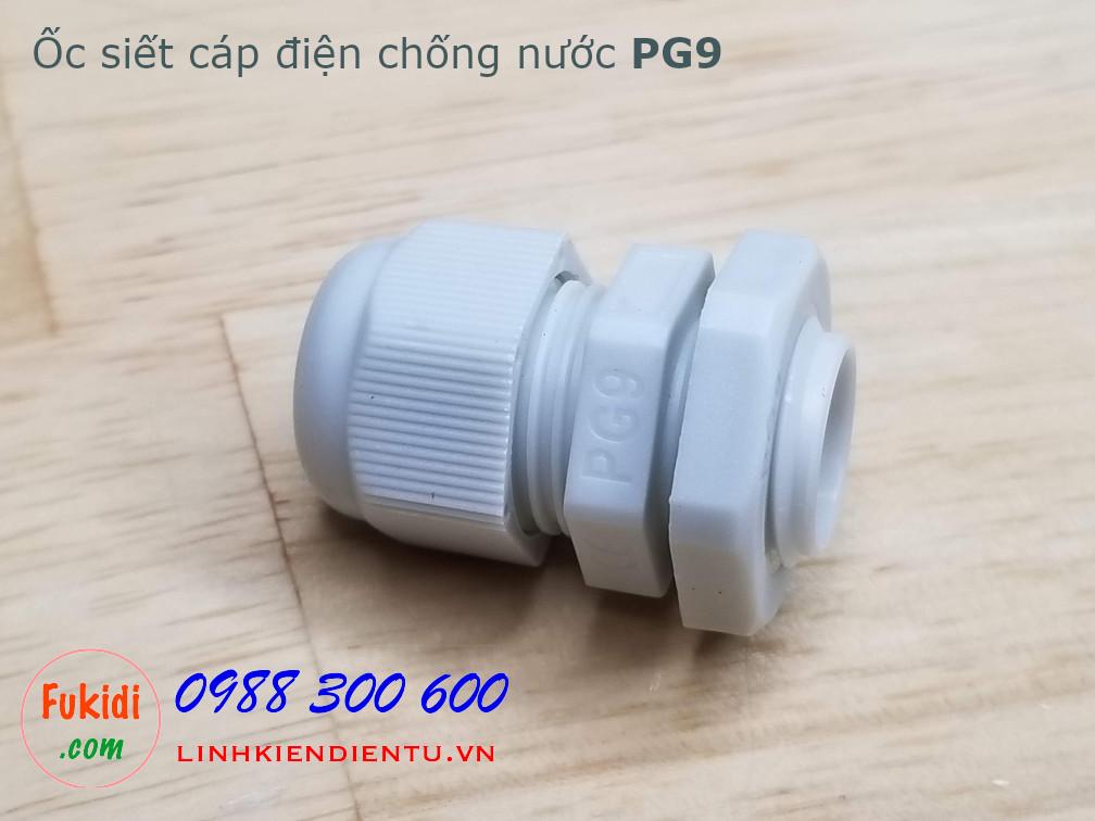 Ốc siết cáp bằng nhựa chống thấm PG9 màu trắng
