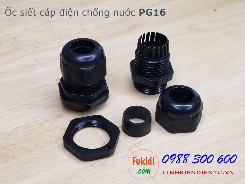 Ốc siết cáp điện chống nước PG16 màu đen, dùng cho dây có phi 10-14mm