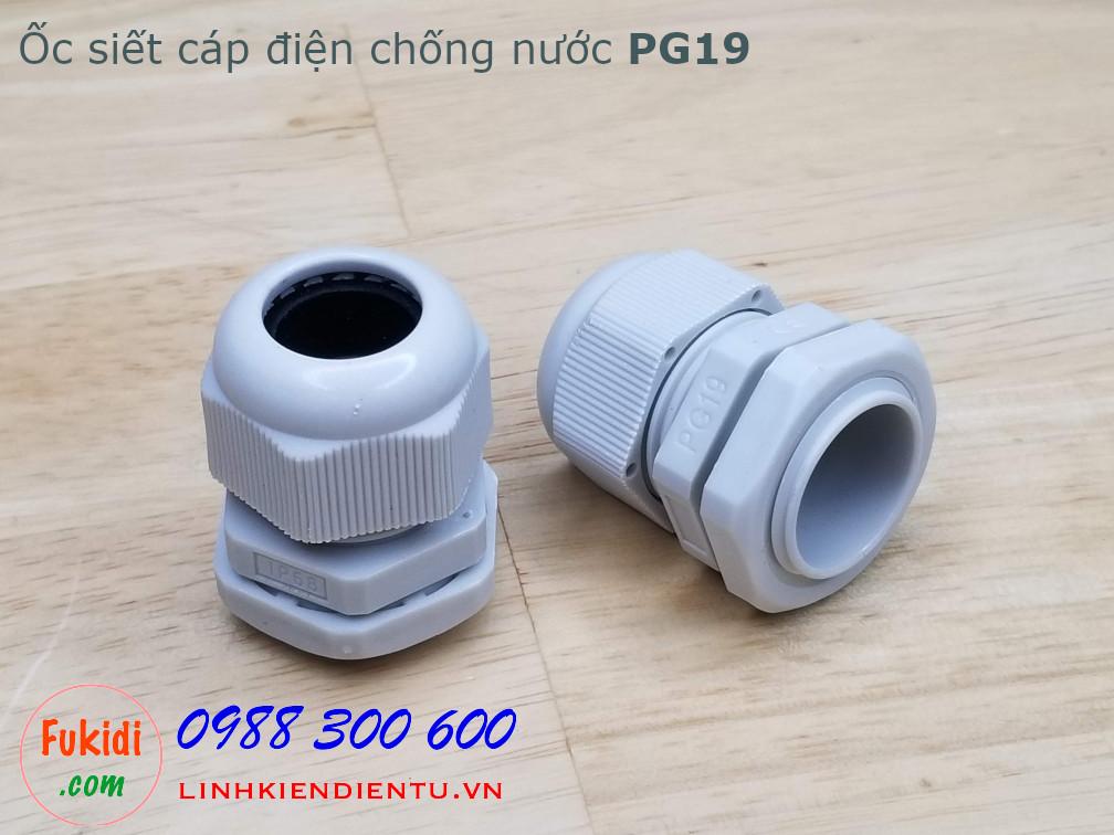 Ốc siết cáp điện chống nước PG19 màu trắng, dùng cho dây có phi 12-15mm