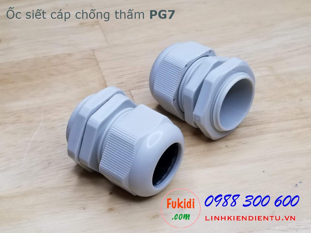 Ốc siết cáp bằng nhựa chống thấm PG25 màu trắng
