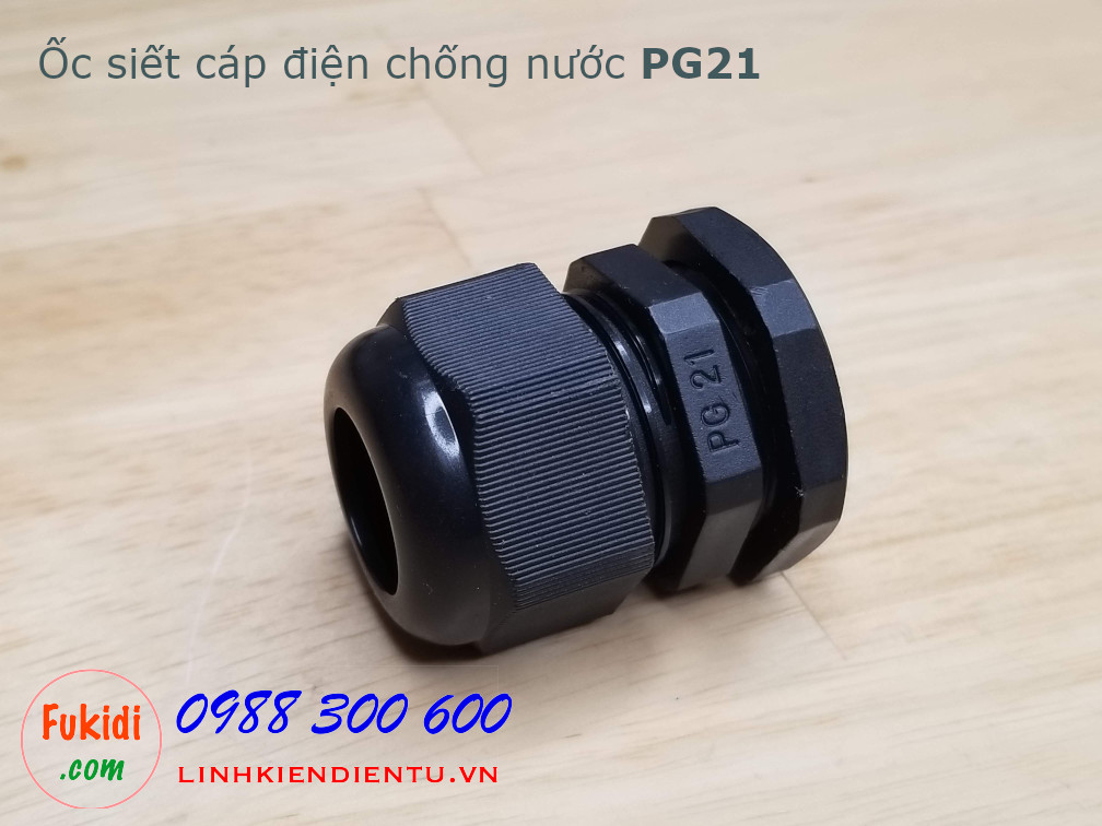 Ốc siết dây điện chống thấm PG21 màu đen, dùng cho dây có phi 13-18mm