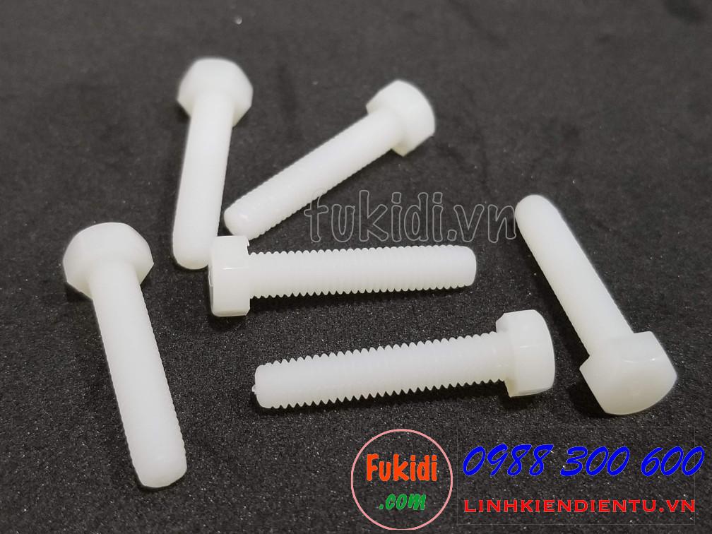 Vít nhựa lục giác M5x25 màu trắng