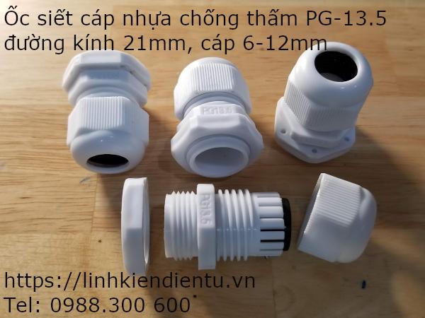Ốc siết cáp bằng nhựa chống thấm PG-13.5, màu trắng 21mm, cáp 6-12mm