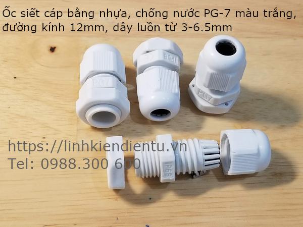Ốc siết cáp bằng nhựa chống thấm PG-7 màu trắng