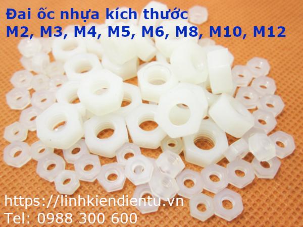 Đai ốc nhựa M4 màu trắng