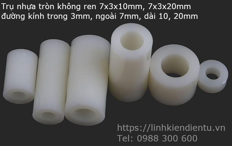 Trụ nhựa tròn không ren 7x3x20mm