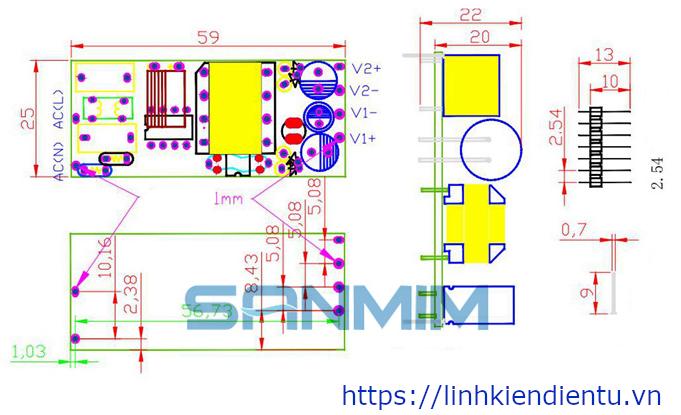 Module nguồn đôi 10W SANMIM 5V/1A và 12V/0.5A - Kích thước board mạch