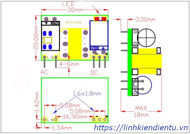 Module nguồn ổn áp 5W SANMIM chuyển 220V sang 12V/0.5A - kích thước chi tiết