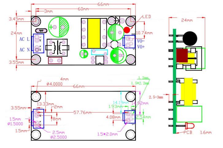 12V/1A - Module nguồn SANMIM 220V sang 12V/1A - kích thước