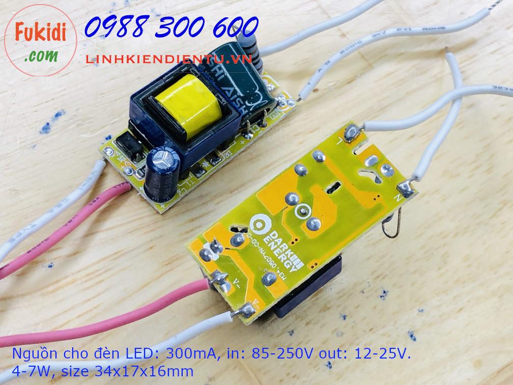 nguồn cho đèn led 300mA, 4-7W, điện áp vào 85-265V, áp ra 12-25V, kích thước 34x17x16mm