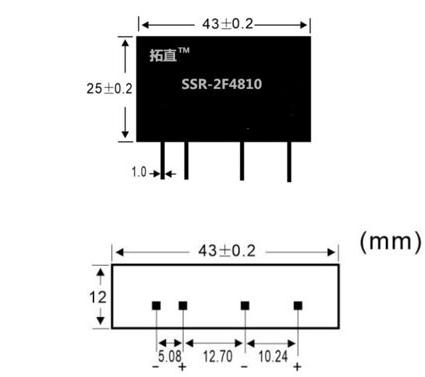 SSR-2F4810 Relay rắn, 3-32VDC 10A/250VAC kích thước chi tiết