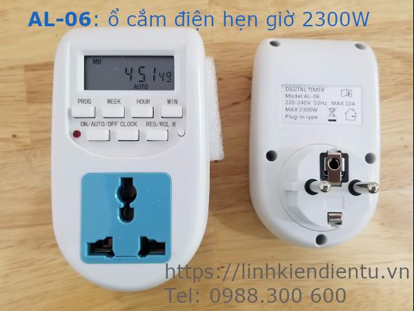 Ổ cắm điện hẹn giờ AL-06, 250V/10A (Max 2300W)