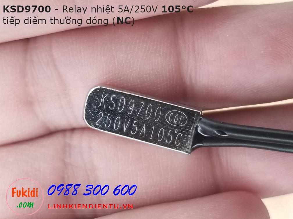 Relay nhiệt KSD9700 5A 250V 105°C, tiếp điểm thường đóng NC