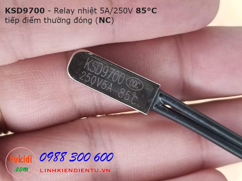 Relay nhiệt KSD9700 5A 250V 85°C, tiếp điểm thường đóng NC