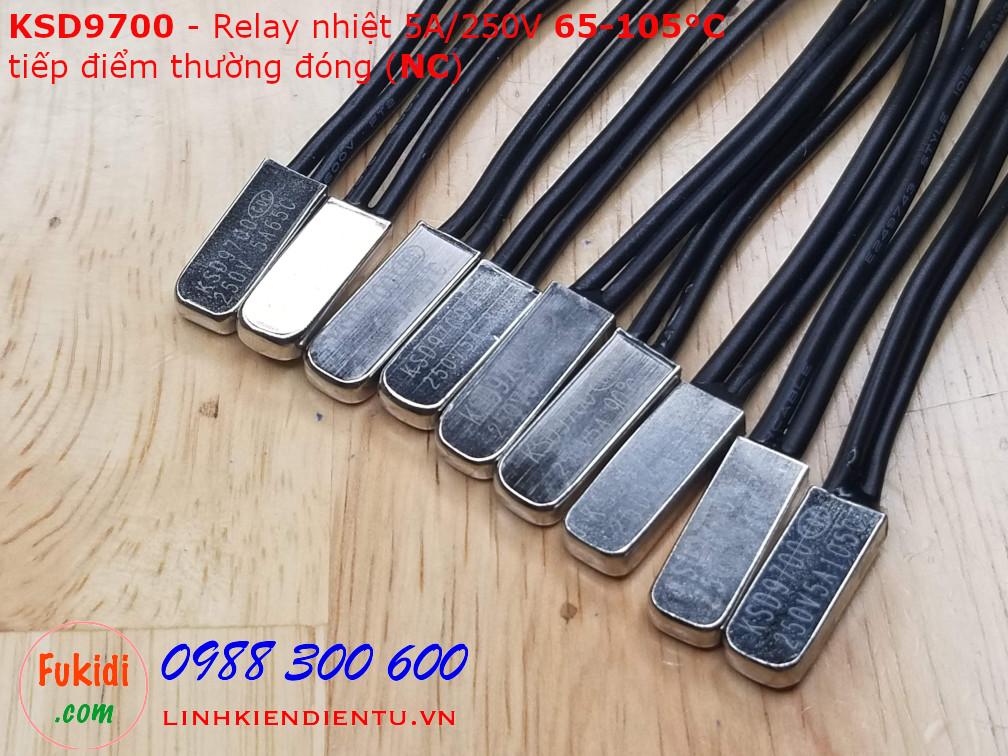 Relay nhiệt KSD9700 5A 250V 80°C, tiếp điểm thường đóng NC