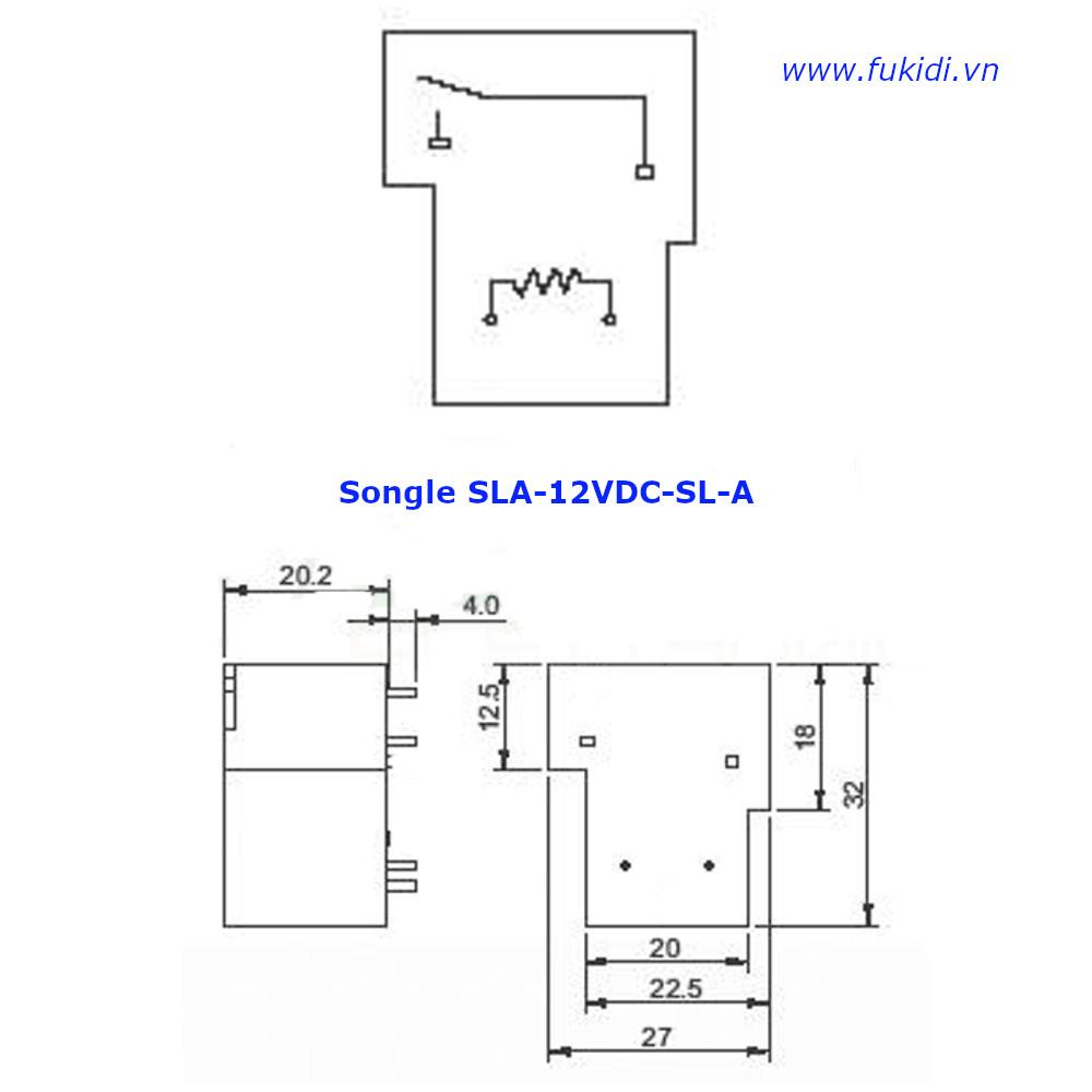 Relay Songle SLA-12VDC-SL-A loại bốn chân tiếp điểm thường mở